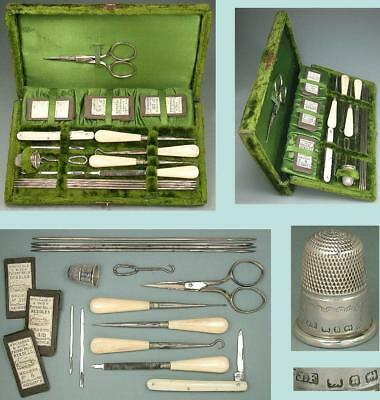 Antique English Velvet Cased Sewing Set * 1887 Sterling Silver Thimble