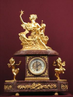100% Bronze Marble Ormolu Mantel Clock Gilded Detailed Sculpture French Style