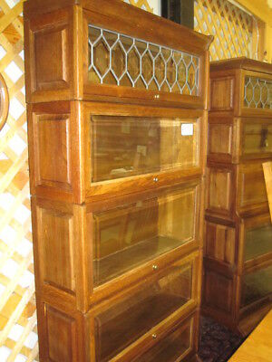 Antique Oak Lawyers Bookcase With Lead & Bevel Glass Doors