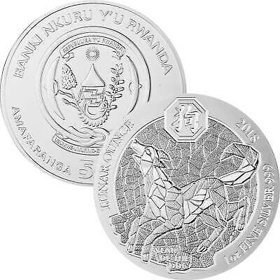 50 Francs Ruanda 2018 - 1 Unze Silber BU - Lunar Jahr des Hundes Year of the dog