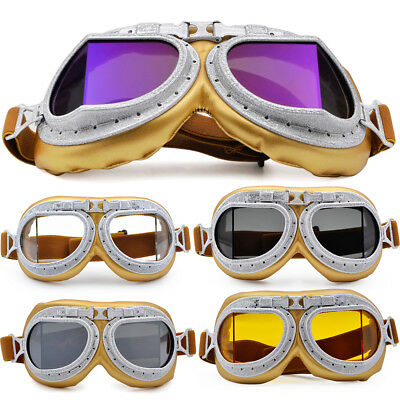 Retro Motorcycle Goggles Scooter Pilot Aviator Glasses For Party Racing Flying