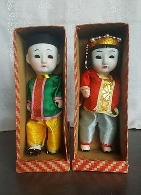 1930's Made In Japan Boy/Girl Sleeping Dolls Push Voice In Original Boxes Signed