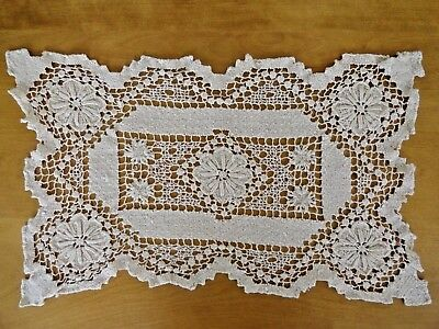 Antique Bobbin / Needle Lace 12 Placemats & 1 Tray Cover Ivory Floral Design