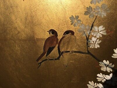 Vintage Chinese 4 Panel Painted Screen With Silk Border