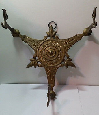 Antique Brass Art Deco 3 Arm Wall Lamp / Lantern / Coat Rack. Beautiful Design.