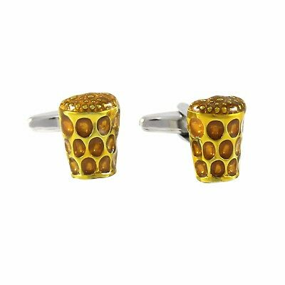 New Rhodium Plated Novelty Beer Glass Cufflinks With Gift Box 1376
