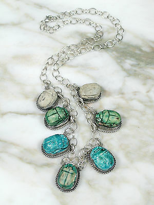 Vtg Egyptian Revival Sterling Silver Necklace W 7 Ancient Faience Scarab Beads