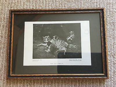 Antique Vtg Framed Matted Perry Pictures - The Cat Family - Painting by Adam