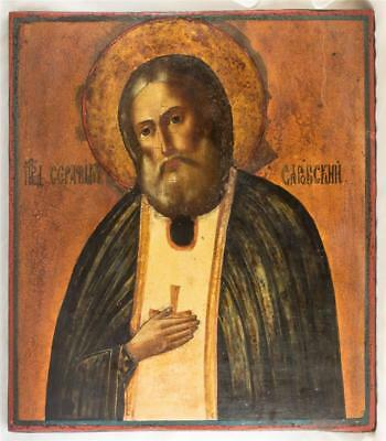 19c RUSSIAN ORTHODOX ANTIQUE ICON SERAFIM SAROVSKY big old