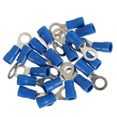 100x Blue Ring Insulated Crimp Connector Electrical Wiring Terminals 6mm Hole