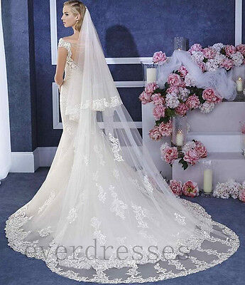 White Cathedral Length 2 Tier Lace Edge Wedding Bridal Veil  Appliques 2017