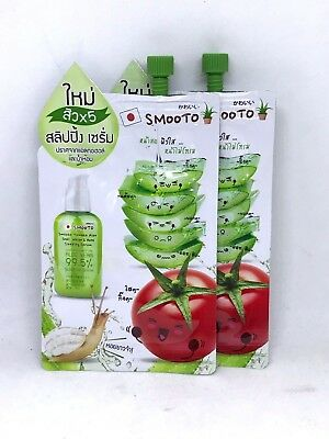 Acne Sleeping Serum Smooto Tomato Aloe Snail White Reduce Acne Net 10 Ml. X 2pcs
