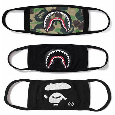 3× Bathing Ape Bape Shark Black Face Mask Camouflage Mouth-muffle Anti Fog New