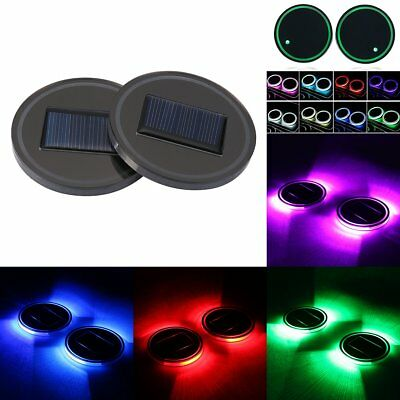 2X Solar Energy Cup Holder Bottom Pad RGB LED Light Mouldings Trim For Car Truck