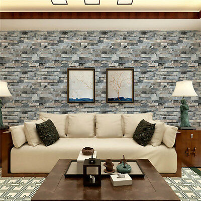 Natural Simplicity 3D Brick Stone Wallpaper Roll Textured Wall Paper Decor Pro