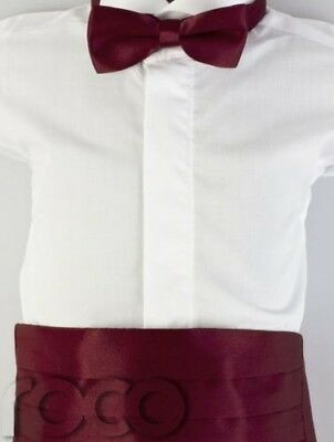 Boys Burgundy Cummerbund & Dickie Bow Set, Boys Dickie Bow Tie, Boys Accessories
