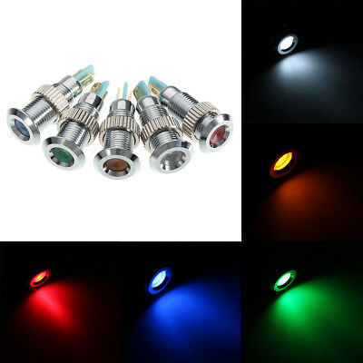 220V 8mm Metal Waterproof LED Pilot Panel Indicator Signal Warning Light Lamp