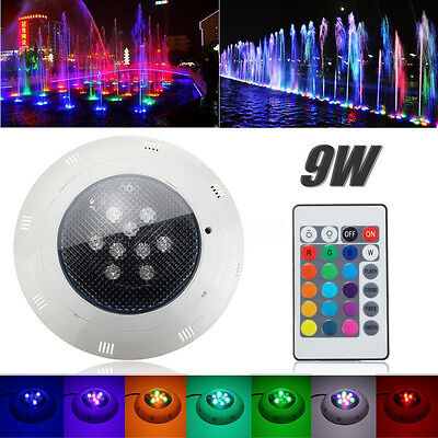 9W RGB Swimming Pool Fountain Spa LED Underwater Light Lamp w/ Remote AC 12-24V