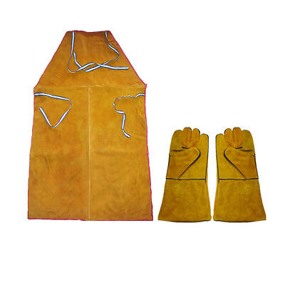 Yellow Welder Apron Welding Protection Flame Resistant Bib + Pair of Gloves