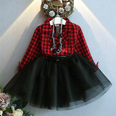 Xmas Gift 1PC Sweet Toddler Baby Girls Princess Party Prom Tulle Checked Dresses