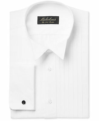 $278 MICHELSONS Men CLASSIC-FIT FRENCH-CUFF WHITE TUXEDO DRESS SHIRT 16 34/35 L
