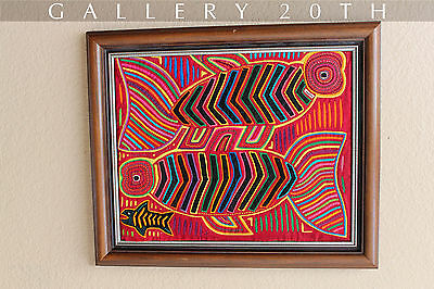 POP! MID CENTURY MODERN FISHES ABSTRACT ART! Textile Vtg 50s Atomic Age Tapestry