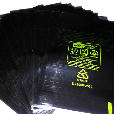 """100x 21.5*15cm ESD Anti-Static Bags For 3.5"""" WD HDD Hard Disk Drive Packing"""