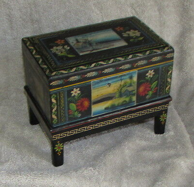 Victorian Hand Painted Trinket Box on Stand Floral and Cottage Scenes ca. 1880's