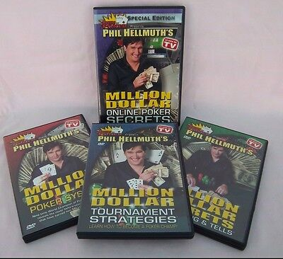 Phil Hellmuth's Million Dollar Poker System Secrets 4 DVD 's CD 's Set AWESOME!