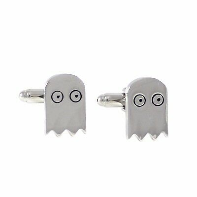 New Rhodium Plated Novelty Pacman Ghost Cufflinks With Gift Box 1380