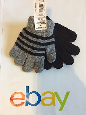 2 Pair Boys Girls Knit Gloves Mittens Baby Toddler Size 2T 3T Black Gray Stripes