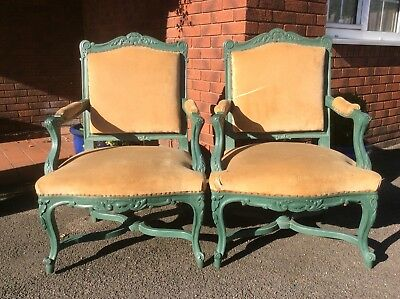 Pair Of Antique French Open Arm Chairs