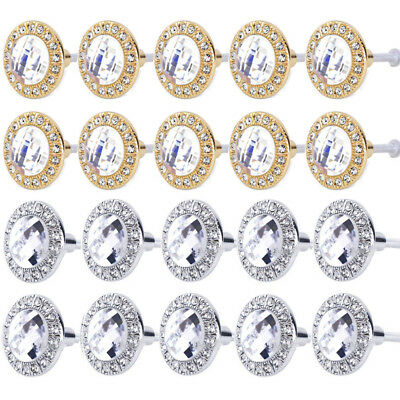 10PCS Clear Glass Crystal Diamond Sparkle Cabinet Drawer Door Pulls Knobs Handle