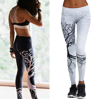 Sports Fitness Yoga Leggings Women Tree Running High Waist Stretch Trousers US01