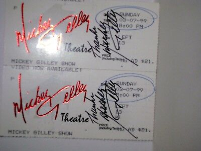 Mickey Gilley Theatre Ticket Stubs - Branson, Mo - 3-7-1999 - Mickey Signed Two