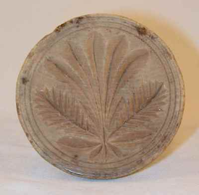 Antique Lathe Turned Carved Wood Butter Print Stylized Plant With Circles Border