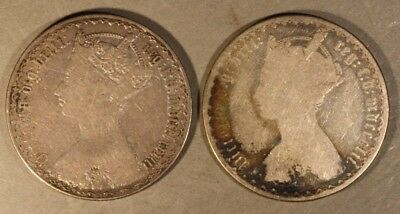 1852 & 1883 Great Britain Silver Gothic Florin 2 Coin Lot* FREE U.S. SHIPPING **