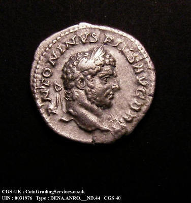212 AD Caracalla Hammerred Silver Denarius Roman Coin CGS 40 around AU50
