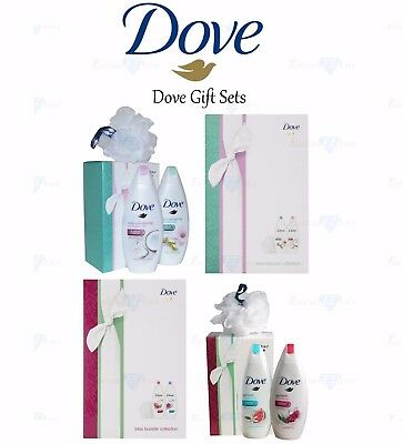 Dove Blossom/Bliss 3-Piece Christmas Gift Set for Her Body Wash & Shower Puff