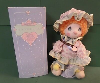 """Precious Moments Vintage Clown Doll Peggy Orange Curly Hair 13"""" Applause + Stand"""