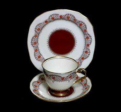 Vintage Royal Stafford 1930s cream, gold & burgundy hand enamelled teacup trio
