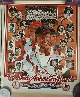 Lot of 2 St Louis Cardinals Vintage Posters AB 25 Years & Hall of Famers Amadee