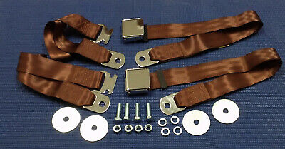 1955-1972 Chevrolet Gmc Pickup Truck Vintage Chrome 2 Dark Brown Seat Belt Sets