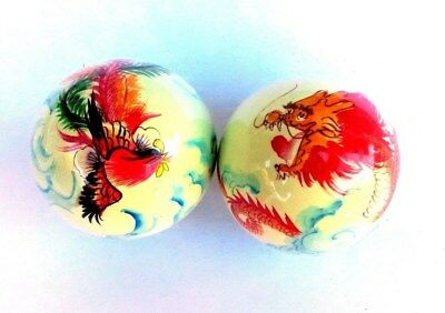 A set of Chinese Handprint BaoDing IRON Balls W/ Musical Chimes, dragon& phoenix