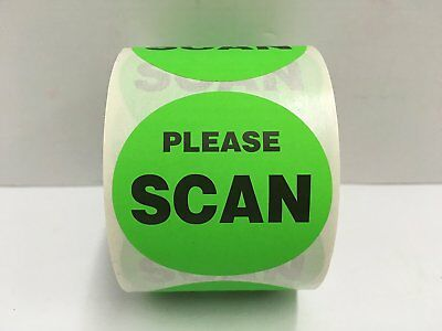 "500 Labels 2"" Round Green PLEASE SCAN Shipping Mailing Stickers 1 Roll"