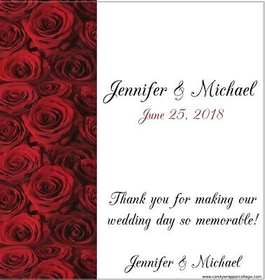 WEDDING RED ROSES Personalized ELEGANT CANDY BAR WRAPPERS FAVORS