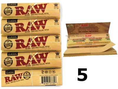 5 x Raw Connoisseur King Size Slim Rolling 32 Papers Include 32 Filter Tips