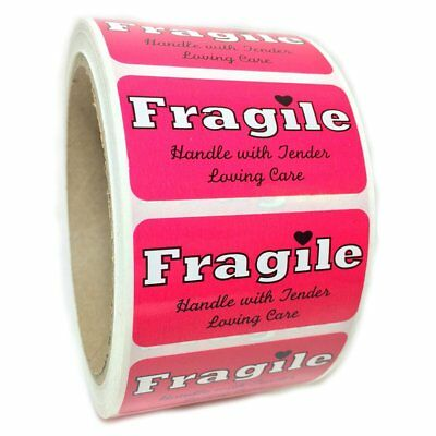 """Pink """"Fragile Handle with Tender Loving Care"""" Label - 1"""" by 2"""" - 500 ct"""