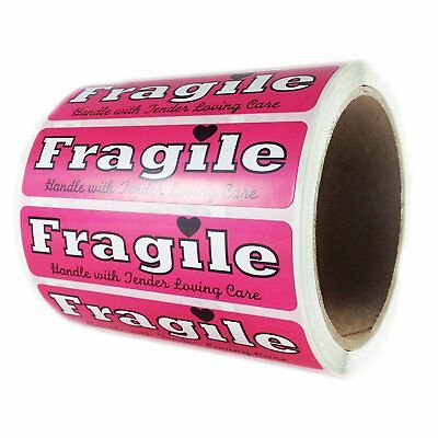 """Pink """"Fragile Handle with Tender Loving Care"""" Label - 1"""" by 4"""" - 500 ct"""