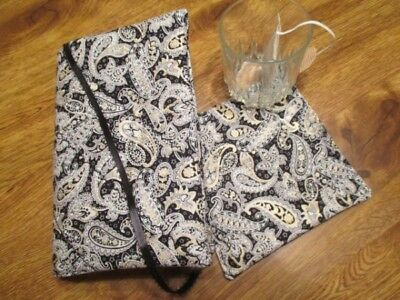 NEW - Black Paisley Print Handmade Quilted Paperback Book Cover & Bev Coaster